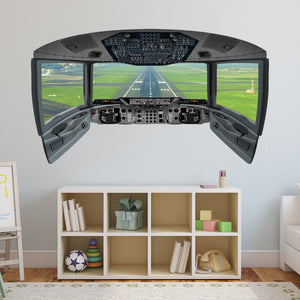 Cockpit Wall Decal Mural | Airplane Window Runway Decor - CP1 - VWAQ Vinyl Wall Art Quotes and Prints