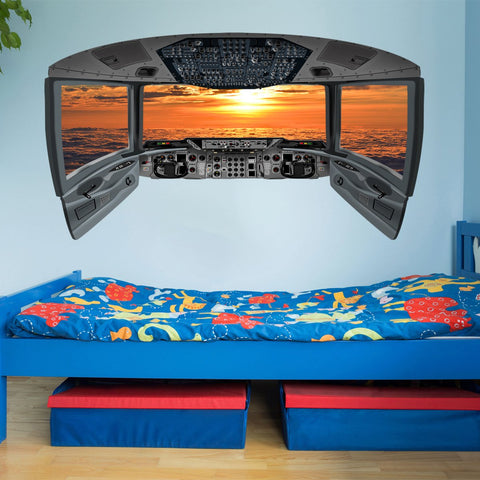 VWAQ Airplane Cockpit Wall Mural | Sunset Clouds Airplane Window Decal - CP2 - VWAQ Vinyl Wall Art Quotes and Prints