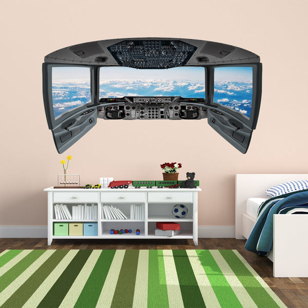 3D Airplane Stickers for Kids | Clouds Cockpit Wall Decal - CP5 - VWAQ Vinyl Wall Art Quotes and Prints