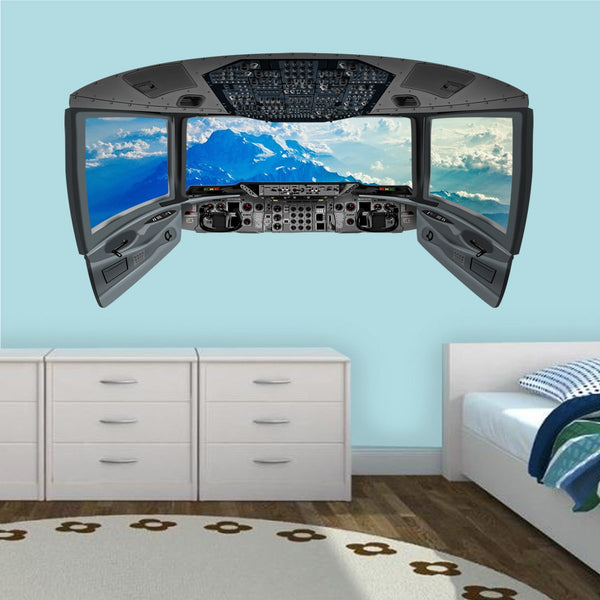 Airplane Cockpit Wall Decal - Mountains Plane Window Sticker - CP6 - VWAQ Vinyl Wall Art Quotes and Prints