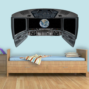 VWAQ Spaceship Cockpit Wall Mural - Earth Window Sticker - CP7