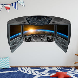 VWAQ Spaceship Cockpit Wall Decal - Outer Space Window Stickers - CP8