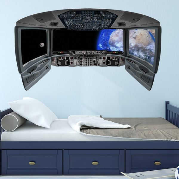 VWAQ Earth Space Shuttle Window Decal | Spaceship Cockpit Wall Mural - CP9 - VWAQ Vinyl Wall Art Quotes and Prints