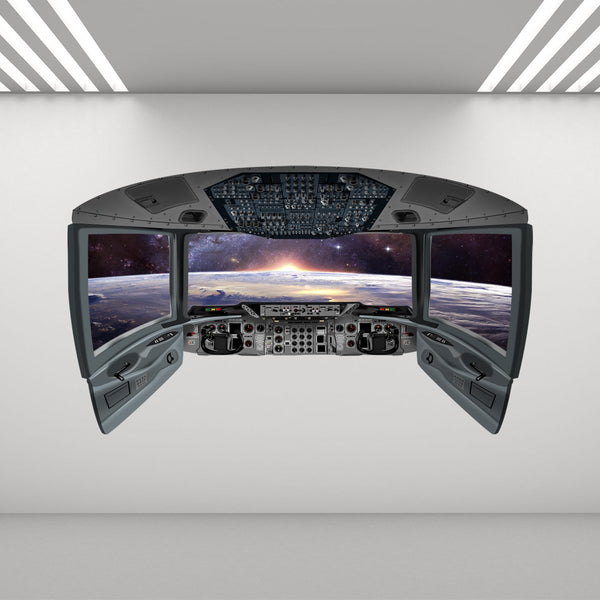 VWAQ Space Shuttle Cockpit Wall Mural | Spaceship Window Wall Decals - CP10 - VWAQ Vinyl Wall Art Quotes and Prints