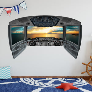 VWAQ Cockpit Wall Decal | 3D Airplane Window Sticker | Ocean View Wall Mural - CP11 - VWAQ Vinyl Wall Art Quotes and Prints