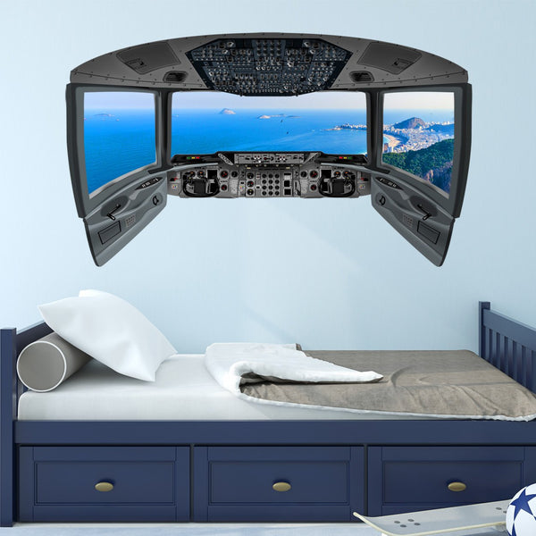 VWAQ Pilot Cockpit Wall Decal | Airplane Window Ocean View Wall Mural - CP12