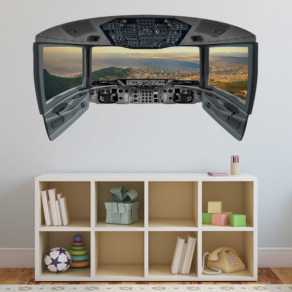 VWAQ Beach Window Wall Sticker | Airplane Pilot Cockpit Wall Decal - CP13 - VWAQ Vinyl Wall Art Quotes and Prints