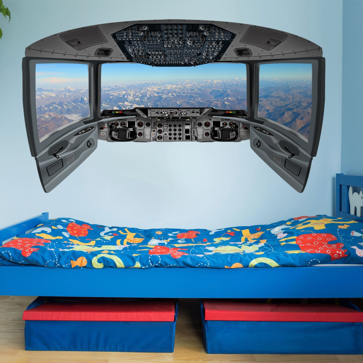 VWAQ Mountain View Wall Mural | Cockpit Wall Decal - CP14 - VWAQ Vinyl Wall Art Quotes and Prints