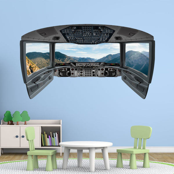 Airplane Cockpit Wall Mural | Mountain Window Wall Decal - CP16 - VWAQ Vinyl Wall Art Quotes and Prints