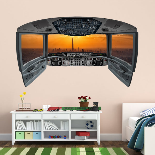 Airplane Pilot Cockpit Wall Mural | City Window Wall Decal - CP17 - VWAQ Vinyl Wall Art Quotes and Prints