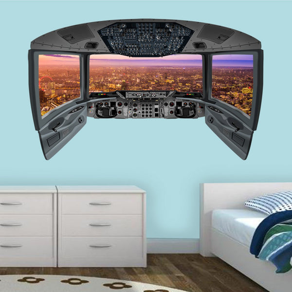 VWAQ London City View Wall Sticker | 3D Airplane Cockpit Wall Decal - CP18
