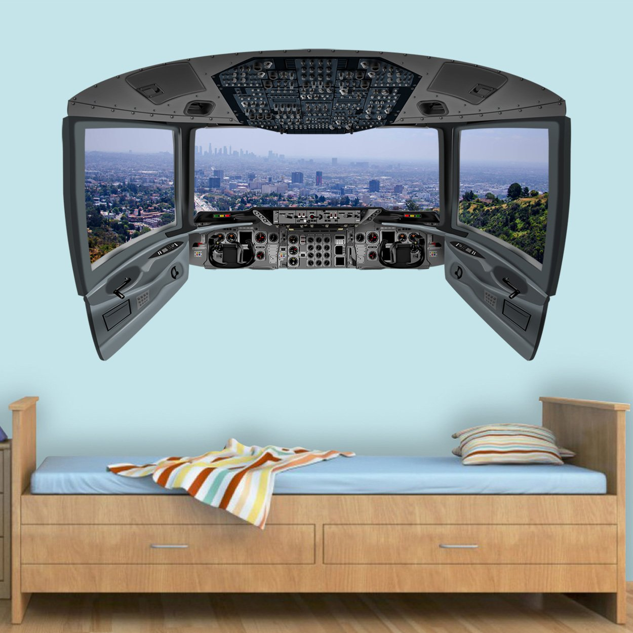 VWAQ Los Angeles Window Wall Mural | 3D Airplane Cockpit Wall Decal - CP19