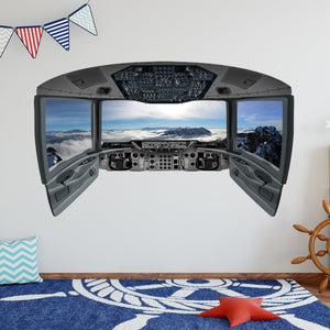 Airplane Cockpit Wall Decal | Plane Window Sticker Kids Room Vinyl Decor - CP21 - VWAQ Vinyl Wall Art Quotes and Prints