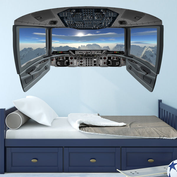 Airplane Decals for Boys Room | Cockpit Wall Art Mural - CP22 - VWAQ Vinyl Wall Art Quotes and Prints