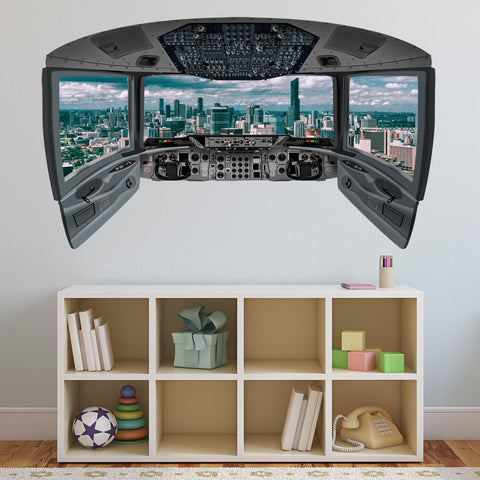 VWAQ Airplane Cockpit Wall Decal Mural | City Mural Wall Decal - CP23 - VWAQ Vinyl Wall Art Quotes and Prints