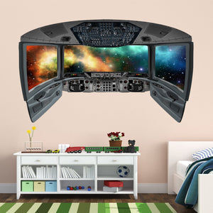 VWAQ Outer Space Galaxy Wall Mural | 3D Space Shuttle Cockpit Wall Decal - CP27 - VWAQ Vinyl Wall Art Quotes and Prints