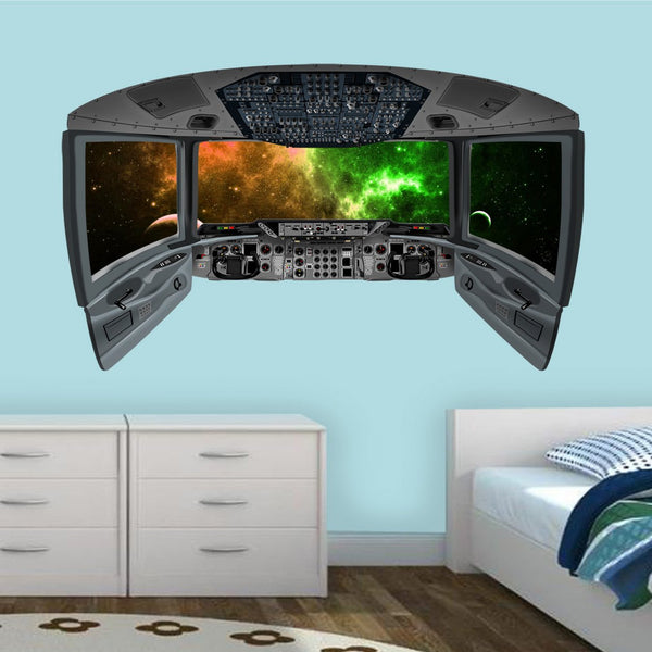 VWAQ Space Shuttle Cockpit Wall Decal | 3D Spaceship Window Galaxy Space Mural - CP28 - VWAQ Vinyl Wall Art Quotes and Prints