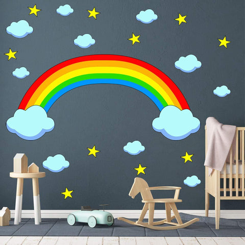VWAQ Nursery Wall Decals Rainbow and Clouds - Peel and Stick Kids Vinyl Stickers - RB1