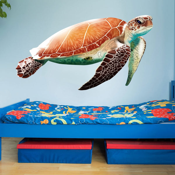 VWAQ Sea Turtle Vinyl Wall Sticker Decal for Kids Rooms | Ocean Theme Decor - NA04