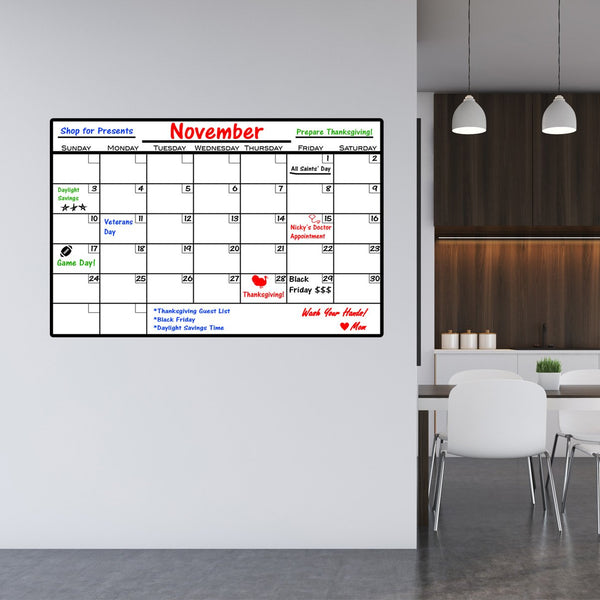 VWAQ Dry Erase Calendar Wall Decal with Markers - Peel and Stick Whiteboard - DRV1 - VWAQ Vinyl Wall Art Quotes and Prints