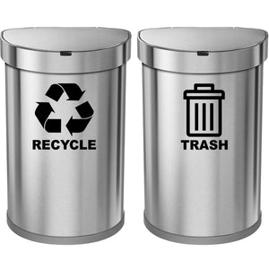 VWAQ Recycle and Trash Decal Set of 2 - Vinyl Recycle Sticker for Trash Can Bin - TC3