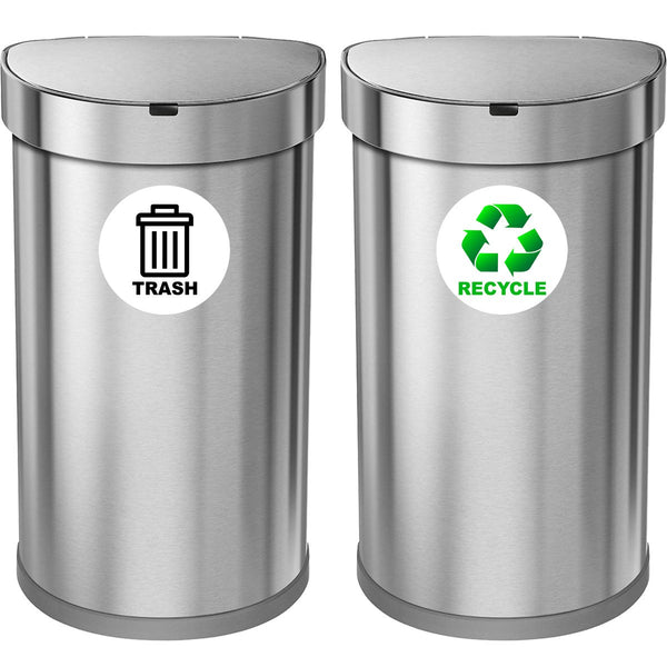 VWAQ Recycle and Trash Logo Sticker - Set of 6 Decals for Trash Can Recycling Bin - PAS29