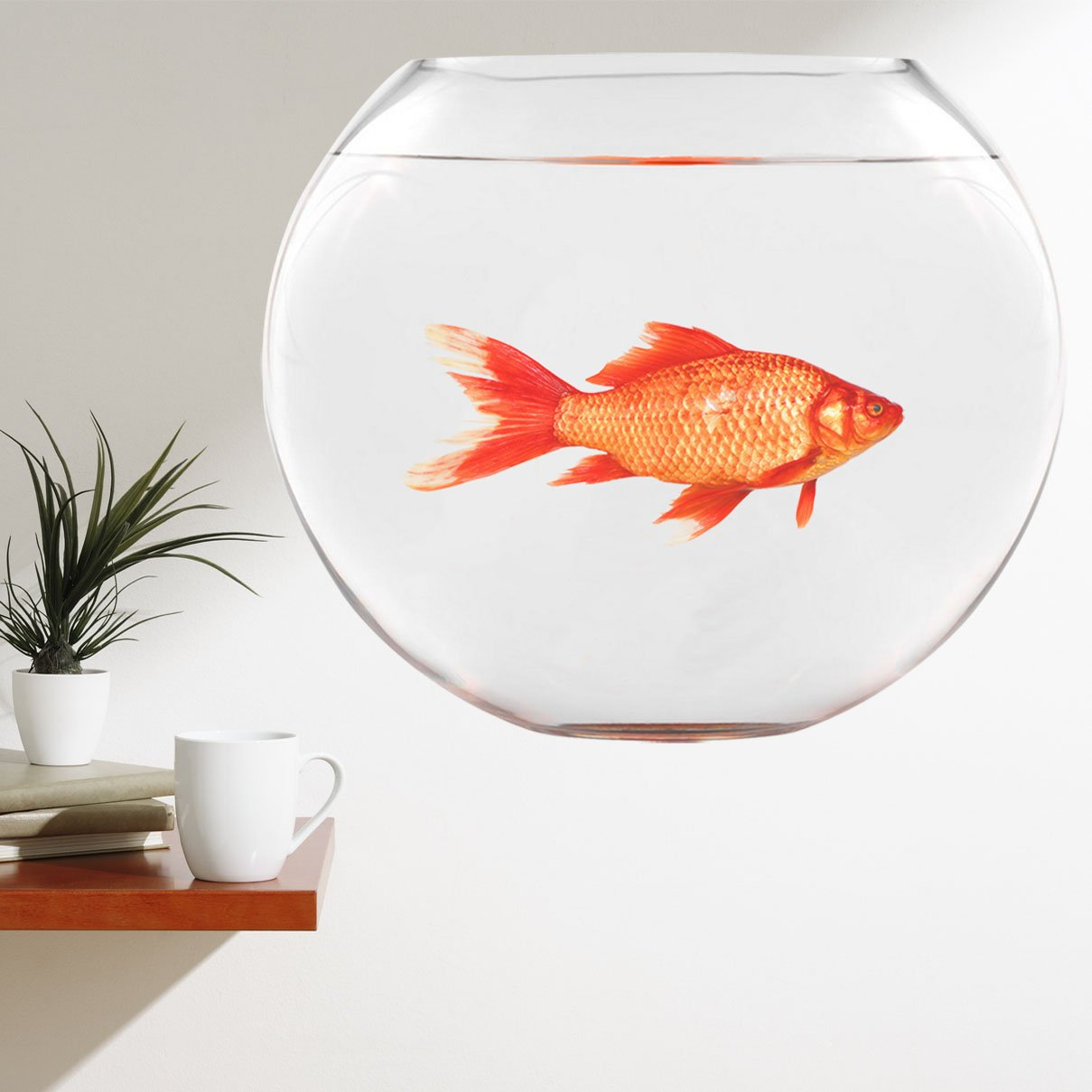 VWAQ Goldfish Fishbowl Wall Stickers - Funny Vinyl Decals Humorous Art Decor - FWP7 - VWAQ Vinyl Wall Art Quotes and Prints