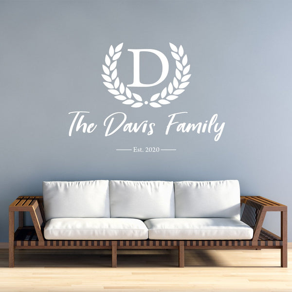 VWAQ Monogram Family Name Wall Decals Custom Wall Decor Personalized Established - CS10 - VWAQ Vinyl Wall Art Quotes and Prints