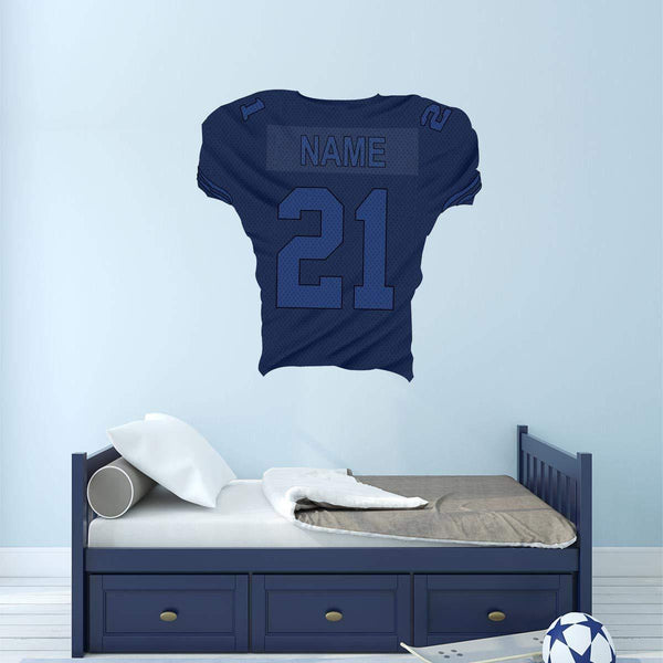 Custom Football Jersey Removable Wall Decal Personalized Name and Number - FB5 - VWAQ Vinyl Wall Art Quotes and Prints