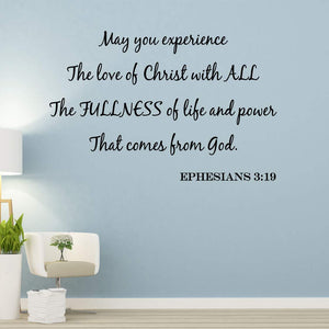 VWAQ May You Experience The Love of Christ Bible Wall Quotes Decal - VWAQ Vinyl Wall Art Quotes and Prints