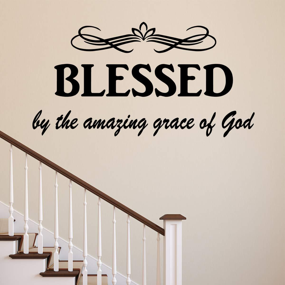 VWAQ Blessed by The Amazing Grace of God Christian Wall Quotes Decal - VWAQ Vinyl Wall Art Quotes and Prints