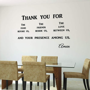 VWAQ Thank You for The Food Before Us Prayer Wall Quotes Decal