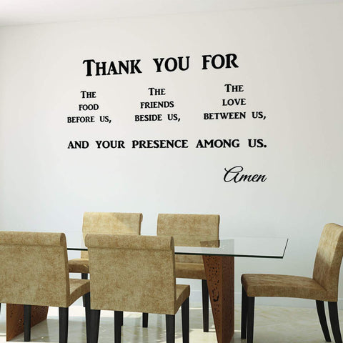VWAQ Thank You for The Food Before Us Prayer Wall Quotes Decal - VWAQ Vinyl Wall Art Quotes and Prints