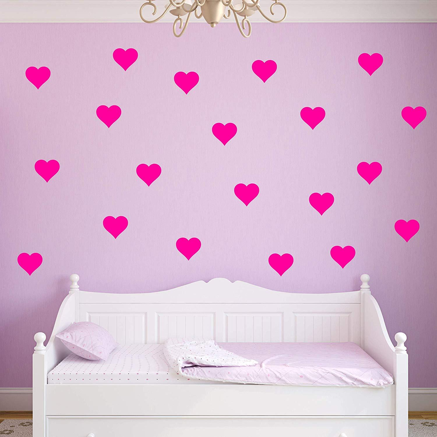 VWAQ Hearts Decals for Wall - Pack of 20 Vinyl Stickers - VWAQ Vinyl Wall Art Quotes and Prints