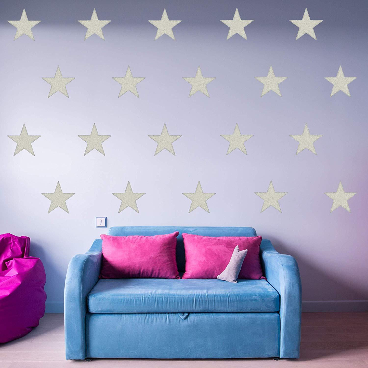 VWAQ Stars Decals for Walls - Pack of 20 Vinyl Stickers - Girls Room Nursery Decor - VWAQ Vinyl Wall Art Quotes and Prints