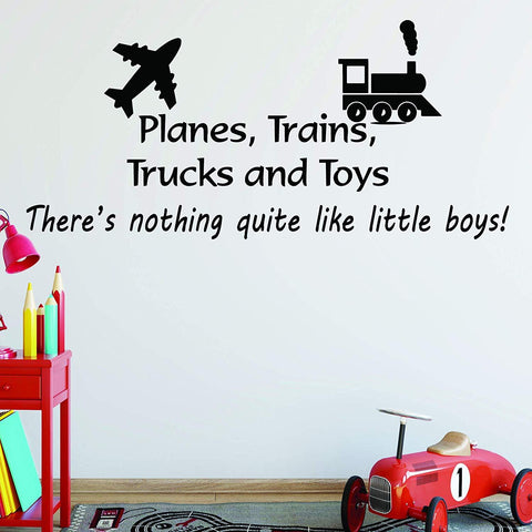 VWAQ Planes, Trains, Trucks and Toys Boys Room Wall Quotes Decal