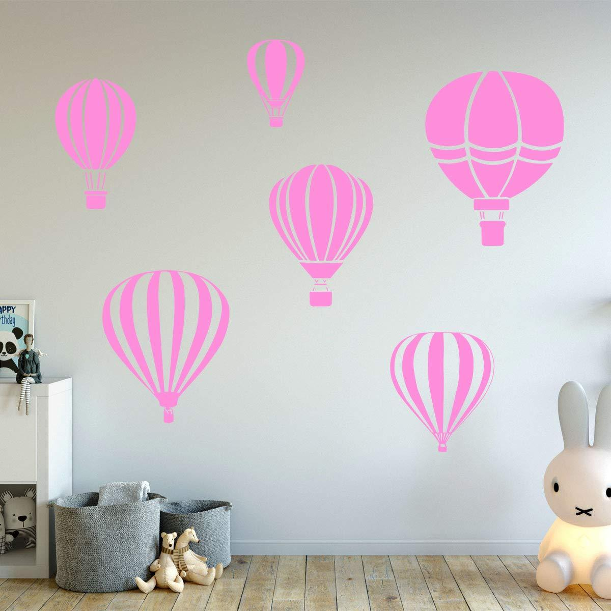 VWAQ Hot Air Balloon Decals for Walls - Pack of 6 Vinyl Stickers - Nursery Decor - VWAQ Vinyl Wall Art Quotes and Prints