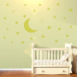VWAQ Moon and Stars Nursery Wall Decal Vinyl Stickers