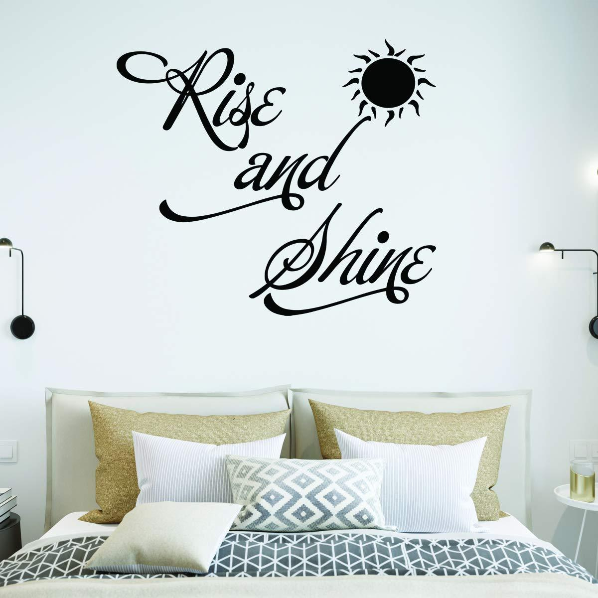 VWAQ Rise and Shine Bedroom Quotes Wall Decal - VWAQ Vinyl Wall Art Quotes and Prints