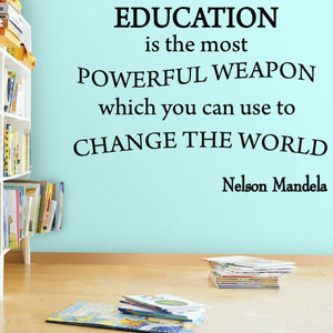 VWAQ Education is The Most Powerful Weapon Nelson Mandela Quotes Wall Decal - VWAQ Vinyl Wall Art Quotes and Prints