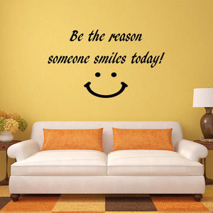 VWAQ Be The Reason Someone Smiles Today Happy Face Quotes Wall Decal - VWAQ Vinyl Wall Art Quotes and Prints