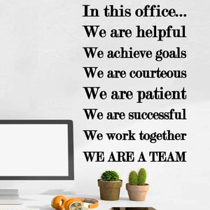 VWAQ in This Office We are Helpful Business Wall Quotes Decal