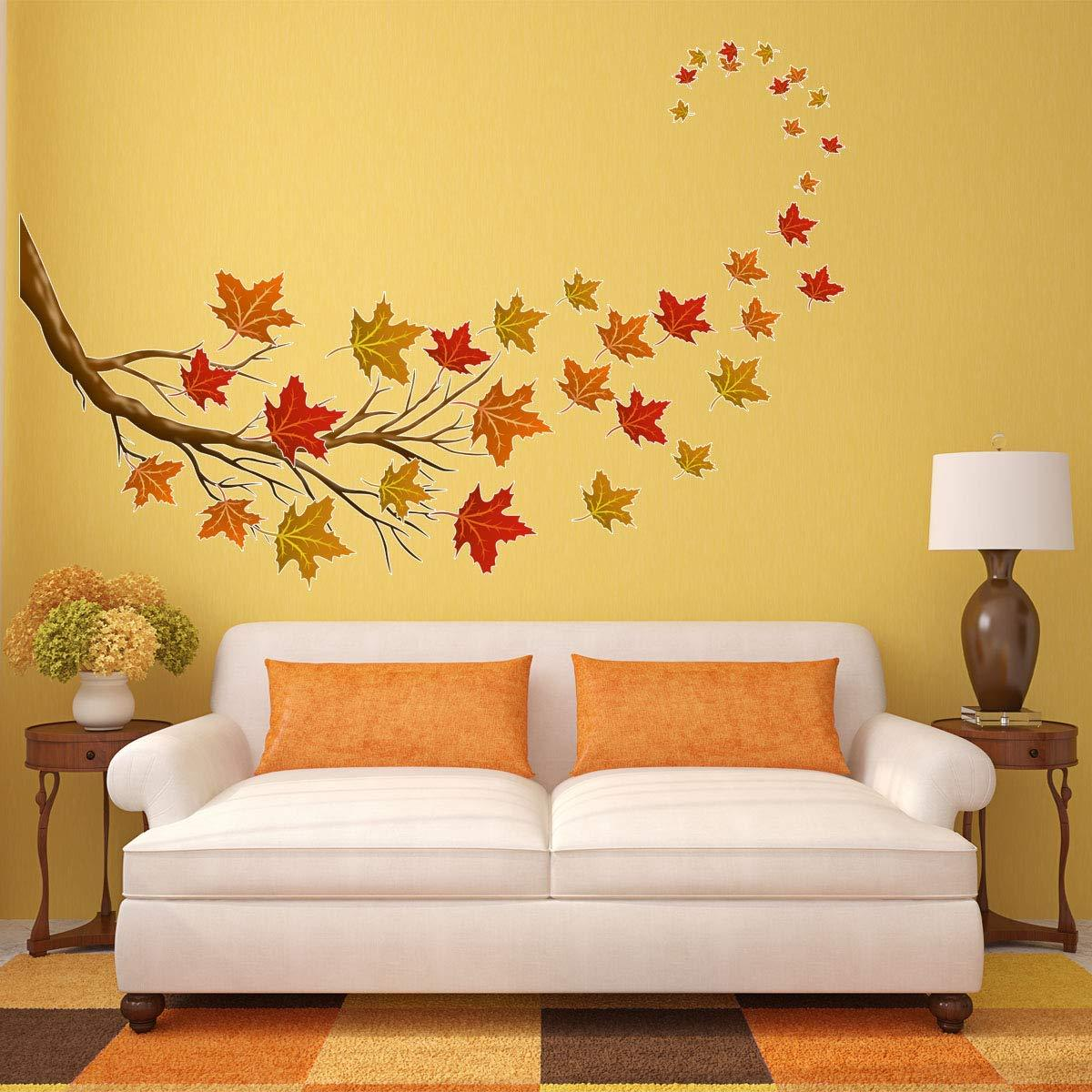 VWAQ Autumn Leaves Wall Decals - Tree Branch Stickers Fall Decorations 37 PCS - HOL23 - VWAQ Vinyl Wall Art Quotes and Prints