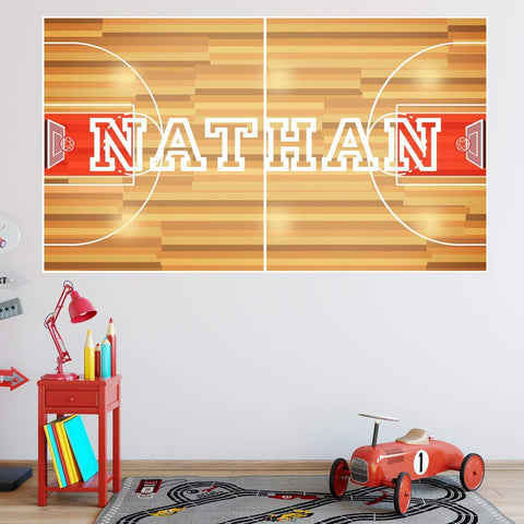 VWAQ Custom Basketball Court Wall Decal - Personalized Kids Name Sports Sticker Mural - HOL12 - VWAQ Vinyl Wall Art Quotes and Prints