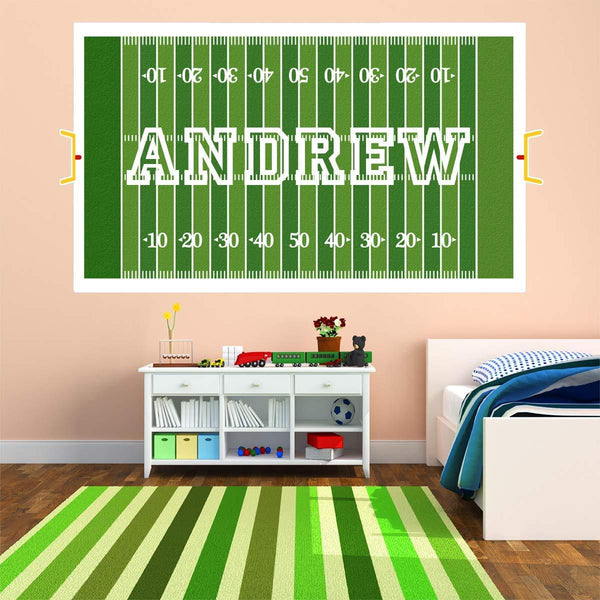 VWAQ Custom Football Field Wall Decal - Personalized Boys Name Sports Sticker Decor - HOL11 - VWAQ Vinyl Wall Art Quotes and Prints