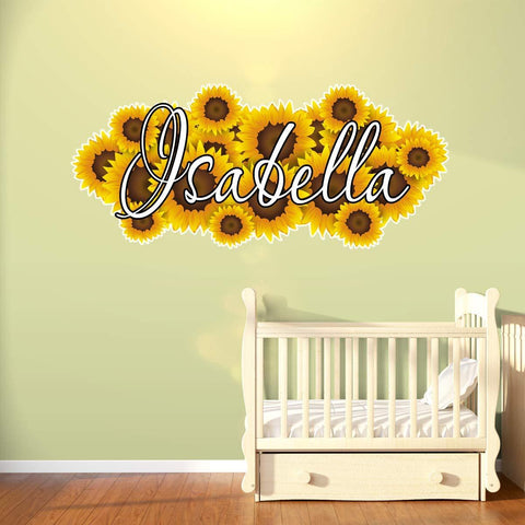 VWAQ Custom Name Sunflower Wall Decal - Personalized Girls Room Flowers Decor - HOL18 - VWAQ Vinyl Wall Art Quotes and Prints