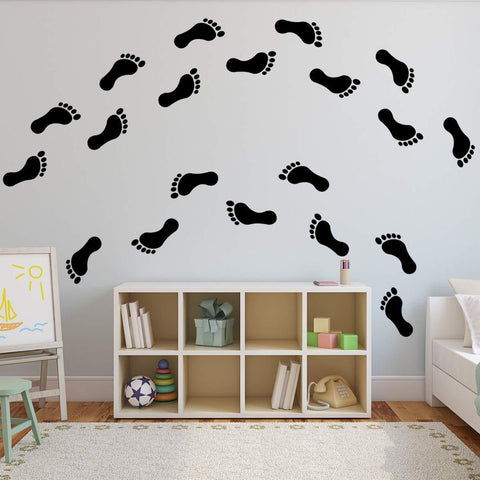 VWAQ Footprint Vinyl Decals - Peel and Stick Floor or Wall Stickers - 20 PCS - VWAQ Vinyl Wall Art Quotes and Prints
