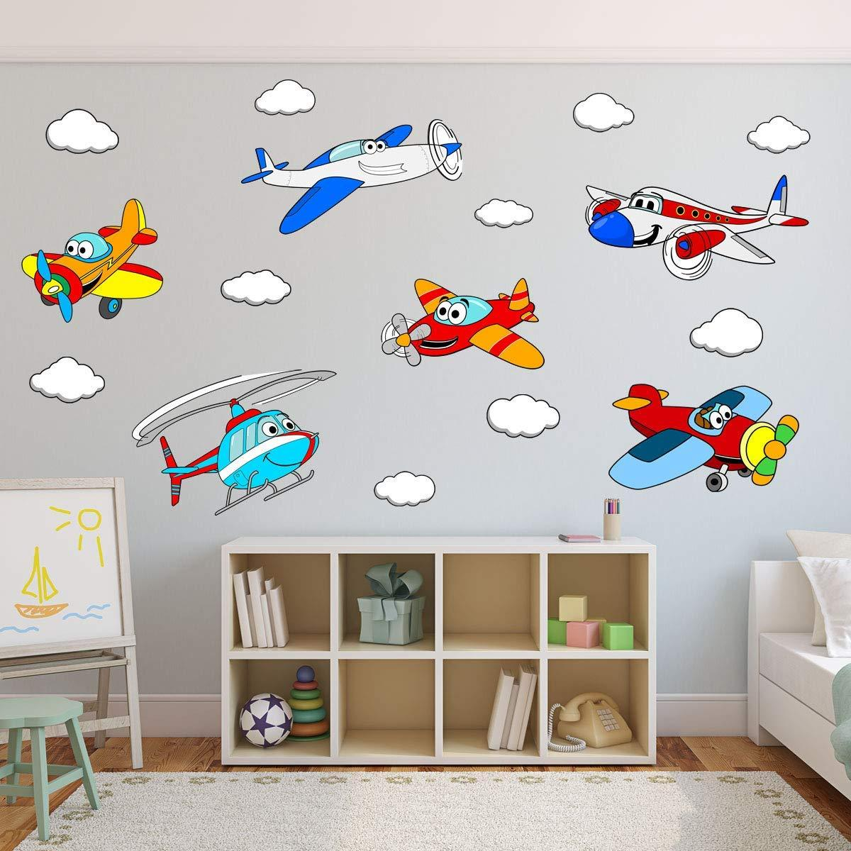 VWAQ Kids Airplane Wall Decals Peel and Stick Aviation Vinyl Stickers Nursery Decor - PAS31 - VWAQ Vinyl Wall Art Quotes and Prints