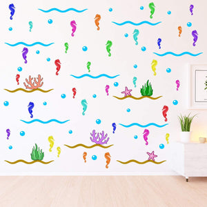 VWAQ Ocean Wall Stickers Seahorse Theme Kids Room Nursery Decor - Removable and Reusable - PAS33 - VWAQ Vinyl Wall Art Quotes and Prints
