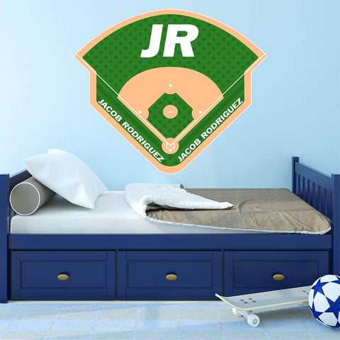VWAQ Personalized Baseball Field Wall Decal - Custom Name Sports Sticker Boys Room Decor - HOL20